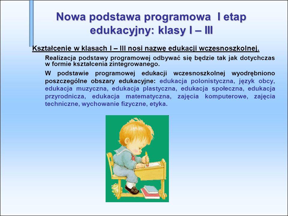 Nowa podstawa programowa I etap edukacyjny: klasy I – III
