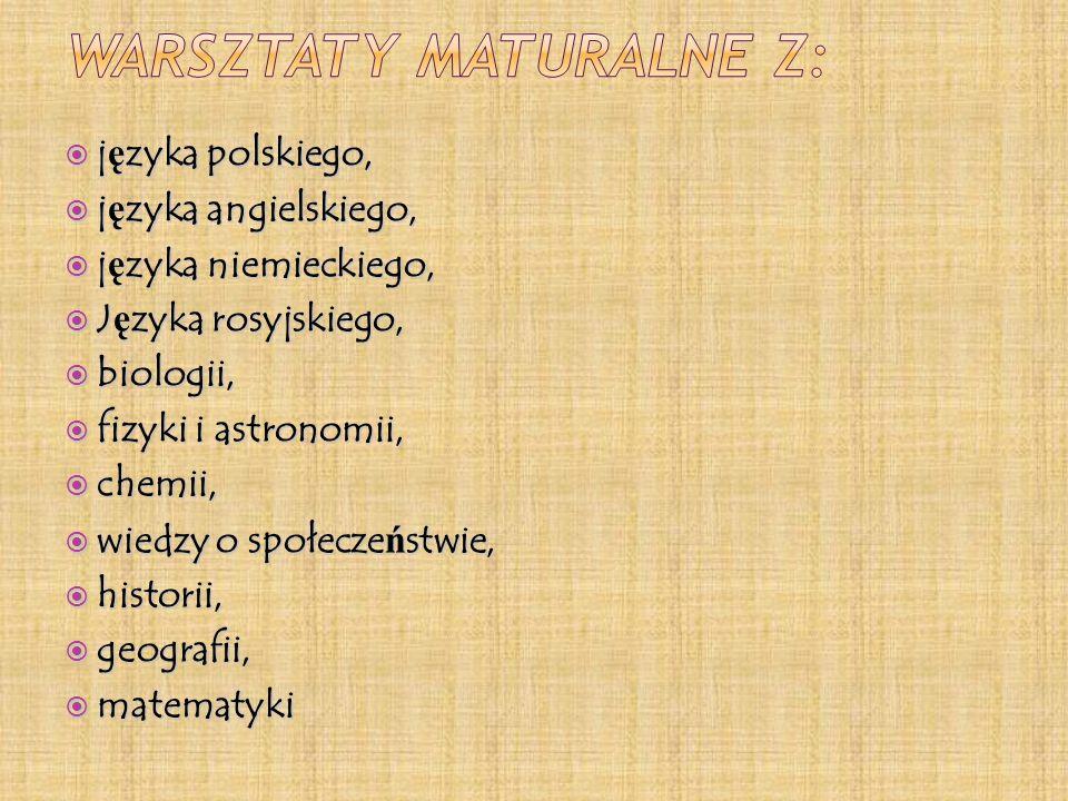 Warsztaty maturalne z: