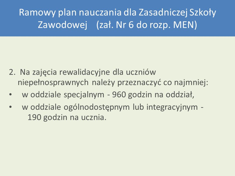 Ramowy plan nauczania dla Zasadniczej Szkoły Zawodowej (zał