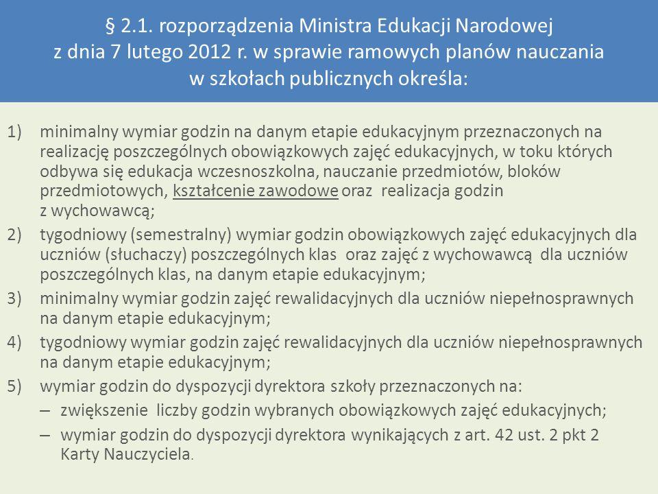 § 2.1. rozporządzenia Ministra Edukacji Narodowej z dnia 7 lutego 2012 r. w sprawie ramowych planów nauczania w szkołach publicznych określa: