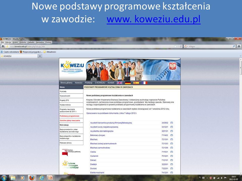 Nowe podstawy programowe kształcenia w zawodzie: www. koweziu.edu.pl