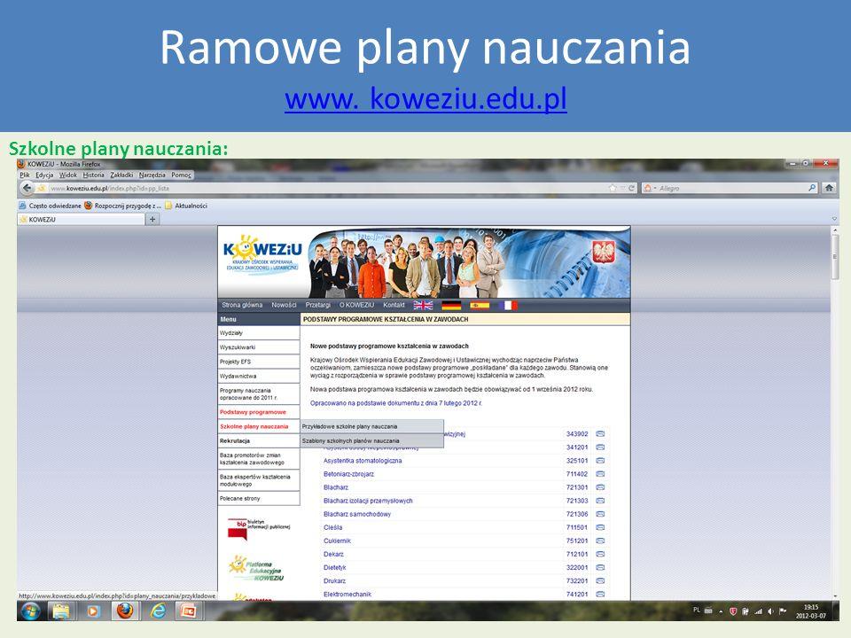 Ramowe plany nauczania www. koweziu.edu.pl