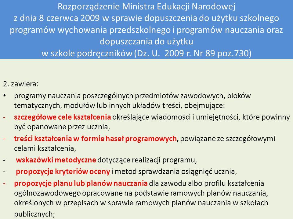 Rozporządzenie Ministra Edukacji Narodowej z dnia 8 czerwca 2009 w sprawie dopuszczenia do użytku szkolnego programów wychowania przedszkolnego i programów nauczania oraz dopuszczania do użytku w szkole podręczników (Dz. U. 2009 r. Nr 89 poz.730)