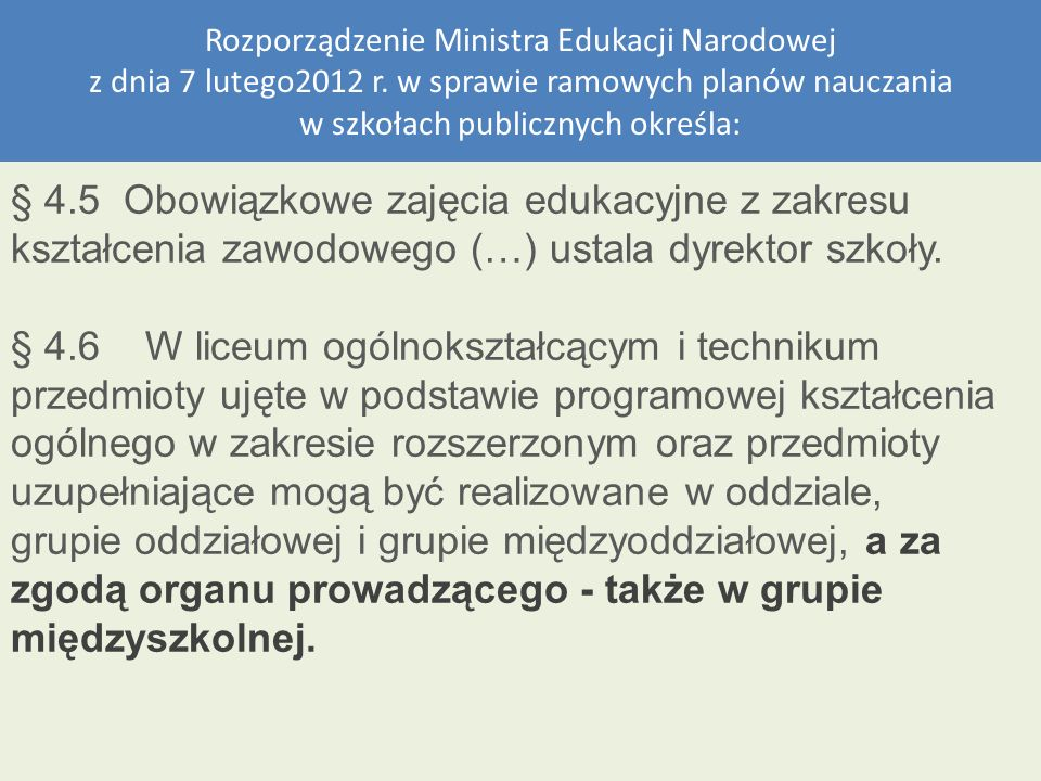Rozporządzenie Ministra Edukacji Narodowej z dnia 7 lutego2012 r