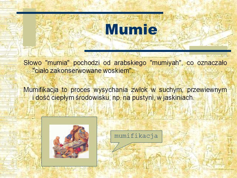 Mumie Słowo mumia pochodzi od arabskiego mumiyah , co oznaczało ciało zakonserwowane woskiem .