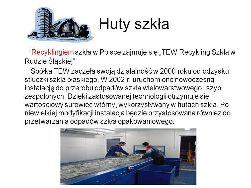 """Huty szkła Recyklingiem szkła w Polsce zajmuje się """"TEW Recykling Szkła w Rudzie Śląskiej"""
