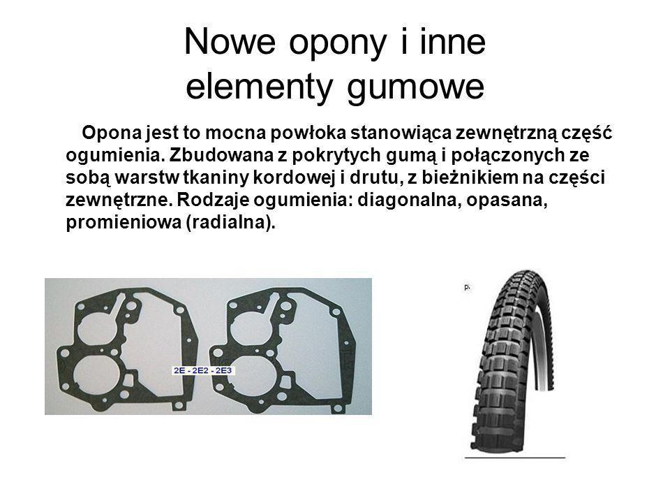 Nowe opony i inne elementy gumowe