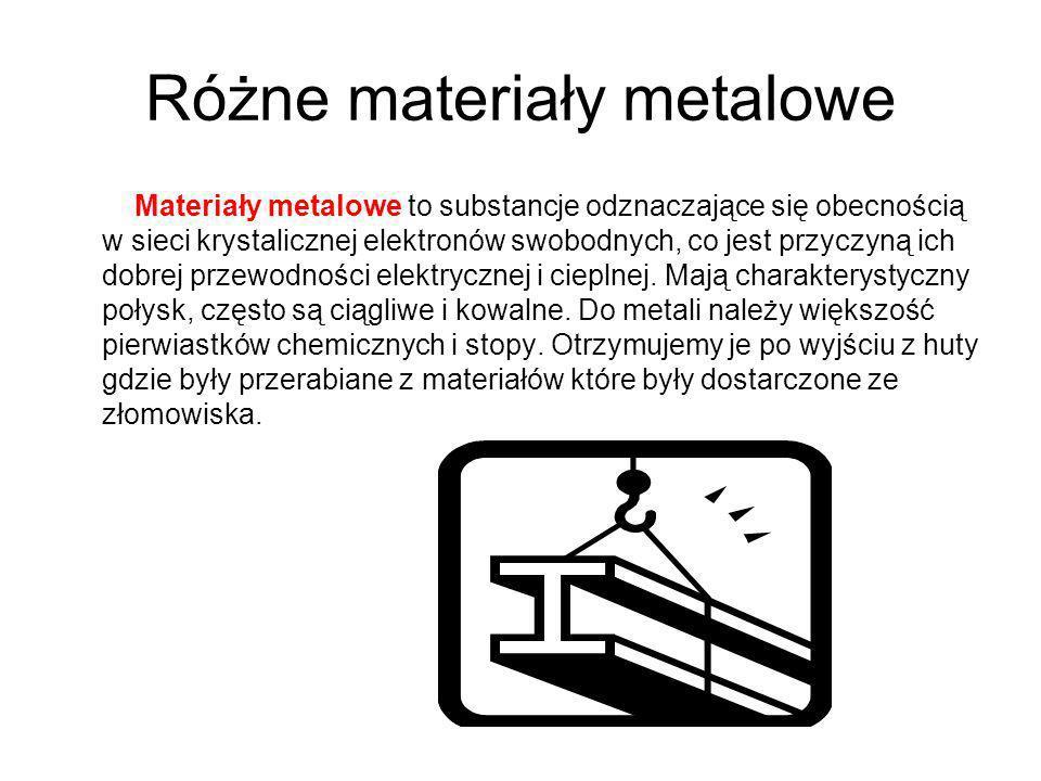 Różne materiały metalowe
