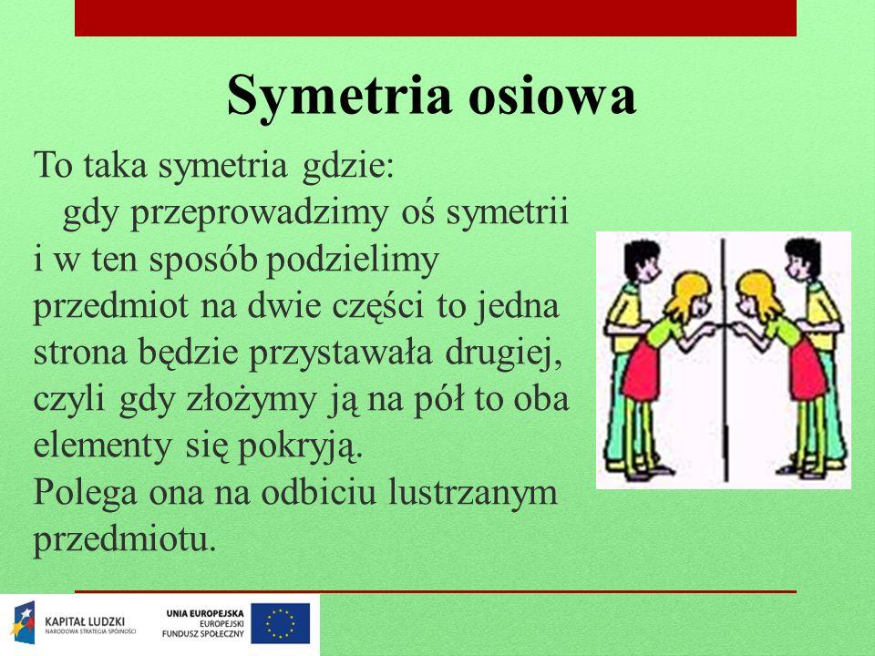 Symetria osiowa To taka symetria gdzie: gdy przeprowadzimy oś symetrii