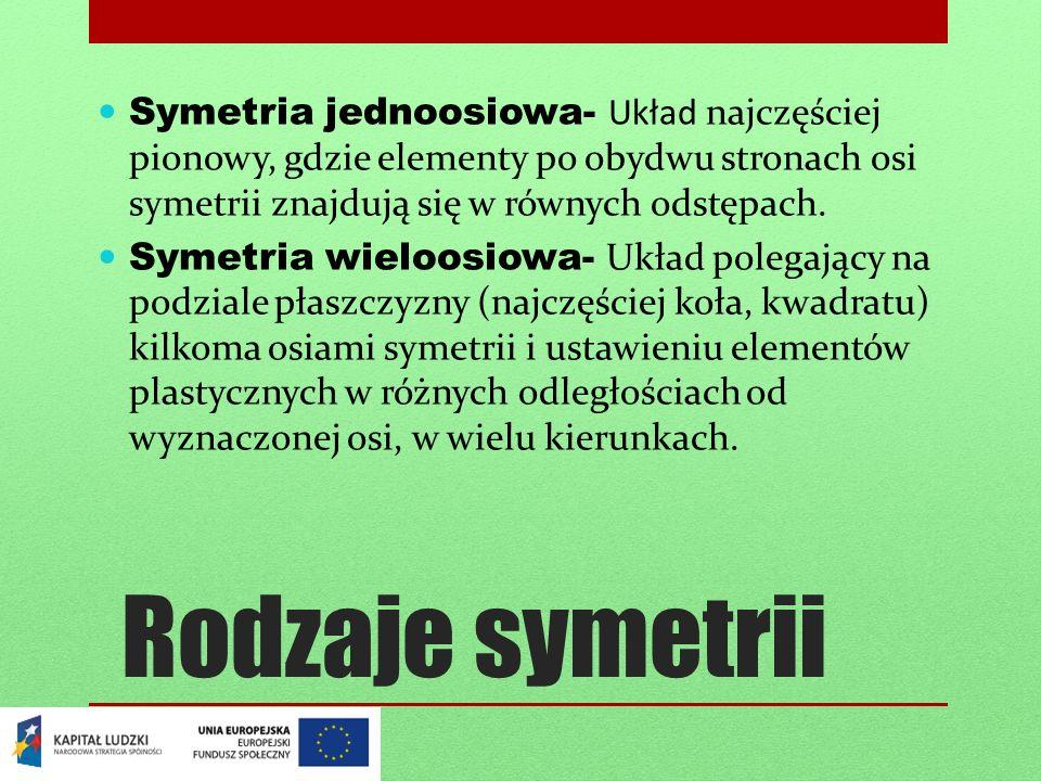 Symetria jednoosiowa- Układ najczęściej pionowy, gdzie elementy po obydwu stronach osi symetrii znajdują się w równych odstępach.