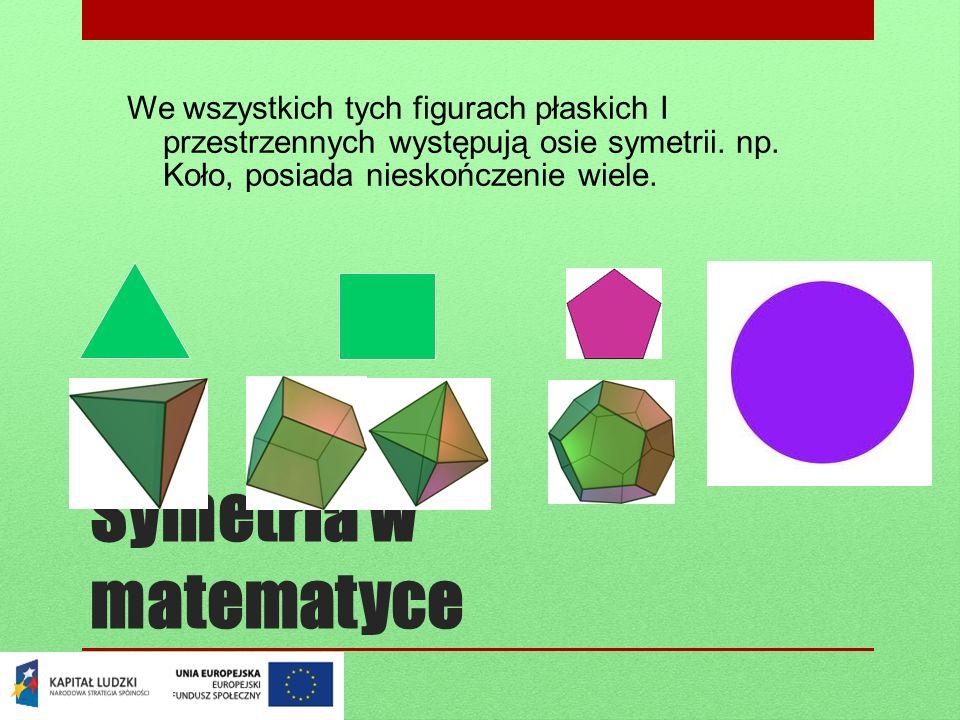 We wszystkich tych figurach płaskich I przestrzennych występują osie symetrii. np. Koło, posiada nieskończenie wiele.