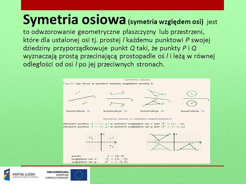 Symetria osiowa (symetria względem osi) jest to odwzorowanie geometryczne płaszczyzny lub przestrzeni, które dla ustalonej osi tj.