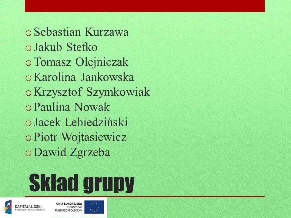 Skład grupy Sebastian Kurzawa Jakub Stefko Tomasz Olejniczak