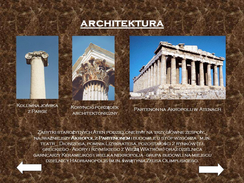 architektura Kolumna jońska Koryncki porządek z Parge