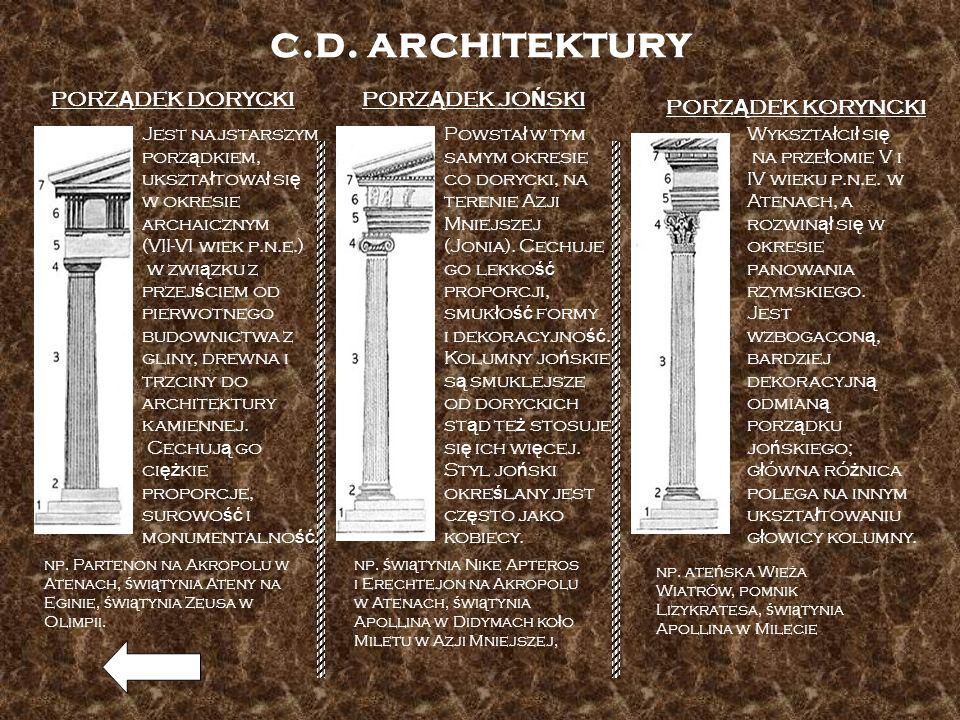 c.d. architektury PORZĄDEK DORYCKI PORZĄDEK JOŃSKI PORZĄDEK KORYNCKI