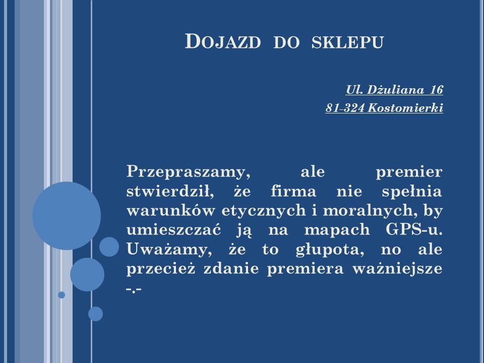 Dojazd do sklepu Ul. Dżuliana 16. 81-324 Kostomierki.