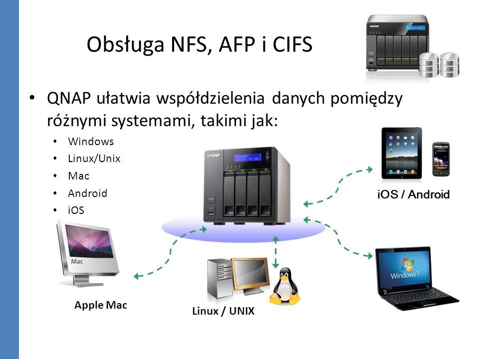 Obsługa NFS, AFP i CIFSQNAP ułatwia współdzielenia danych pomiędzy różnymi systemami, takimi jak: Windows.