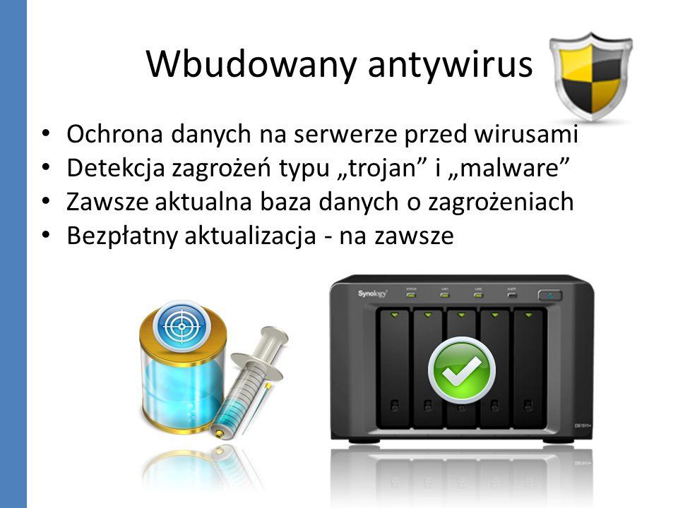 Wbudowany antywirus Ochrona danych na serwerze przed wirusami