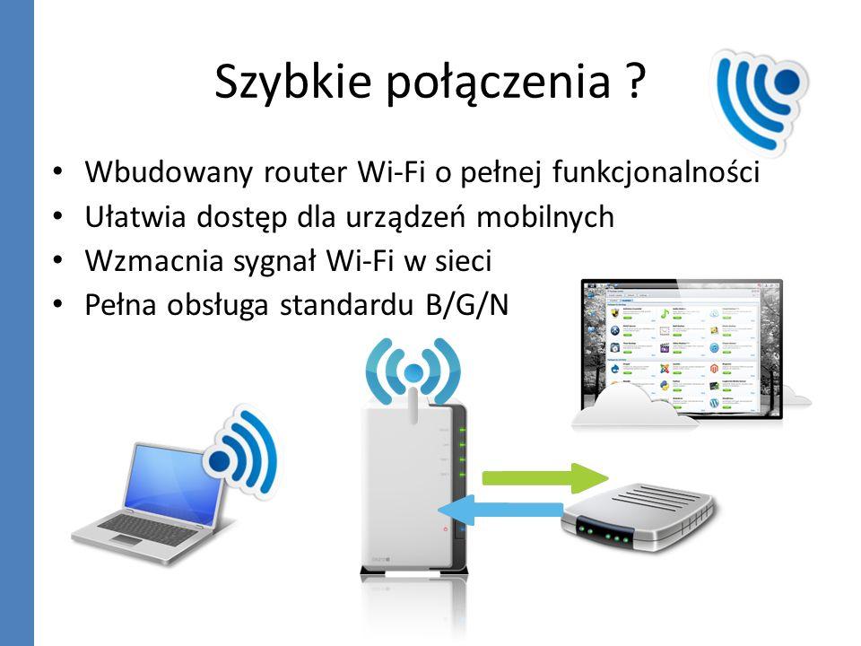 Szybkie połączenia Wbudowany router Wi-Fi o pełnej funkcjonalności