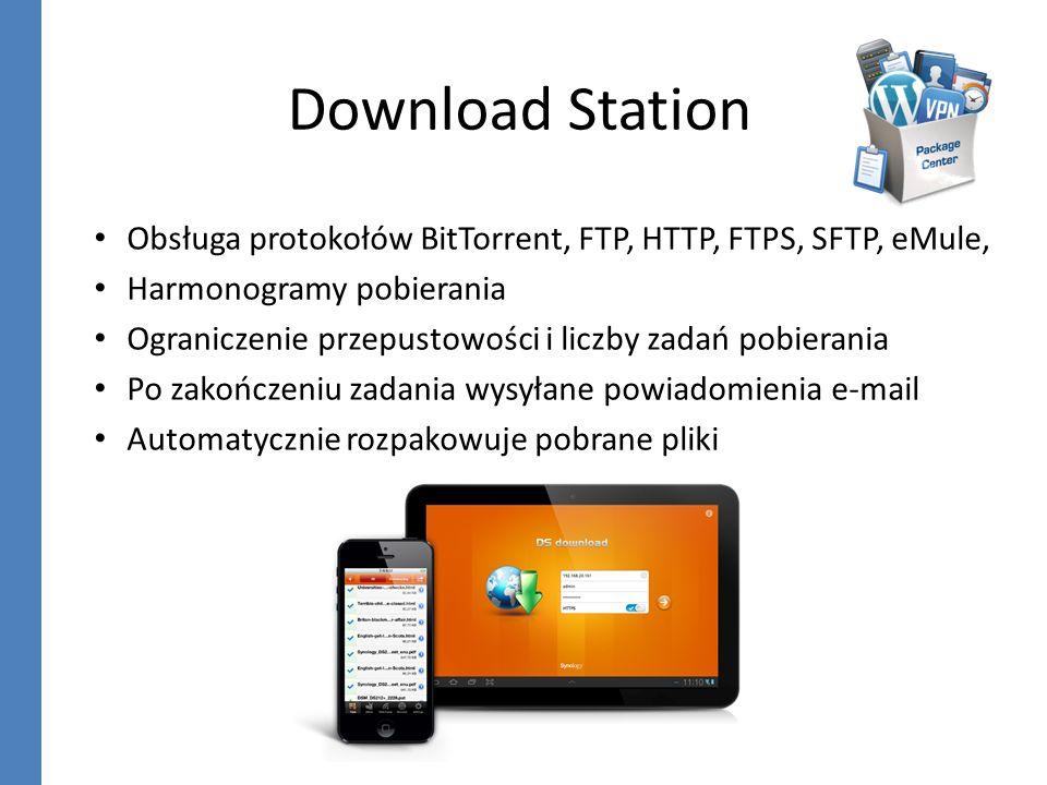 Download Station Obsługa protokołów BitTorrent, FTP, HTTP, FTPS, SFTP, eMule, Harmonogramy pobierania.