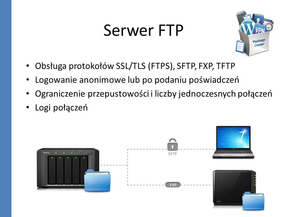 Serwer FTP Obsługa protokołów SSL/TLS (FTPS), SFTP, FXP, TFTP
