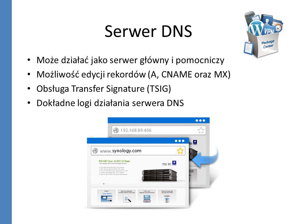Serwer DNS Może działać jako serwer główny i pomocniczy