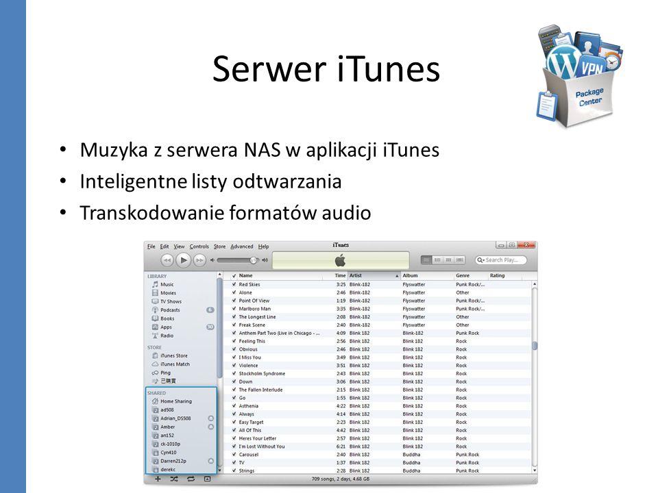 Serwer iTunes Muzyka z serwera NAS w aplikacji iTunes