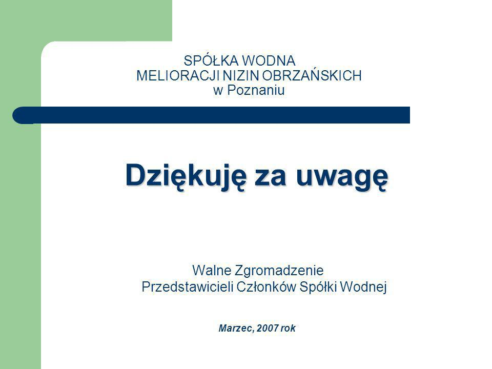 SPÓŁKA WODNA MELIORACJI NIZIN OBRZAŃSKICH w Poznaniu Dziękuję za uwagę