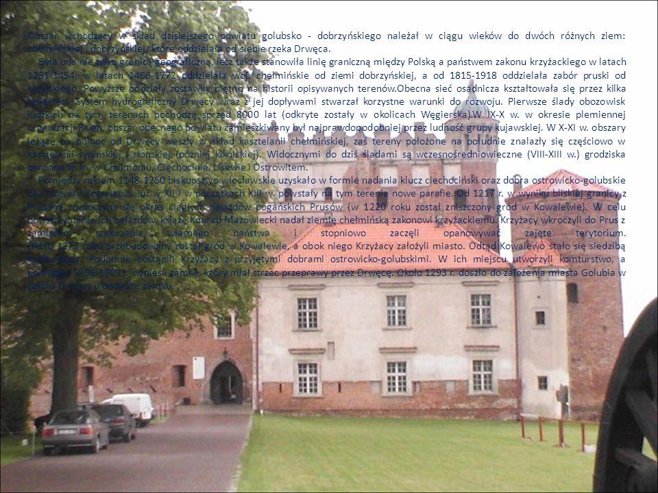 Obszar wchodzący w skład dzisiejszego powiatu golubsko - dobrzyńskiego należał w ciągu wieków do dwóch różnych ziem: chełmińskiej i dobrzyńskiej, które oddzielała od siebie rzeka Drwęca.