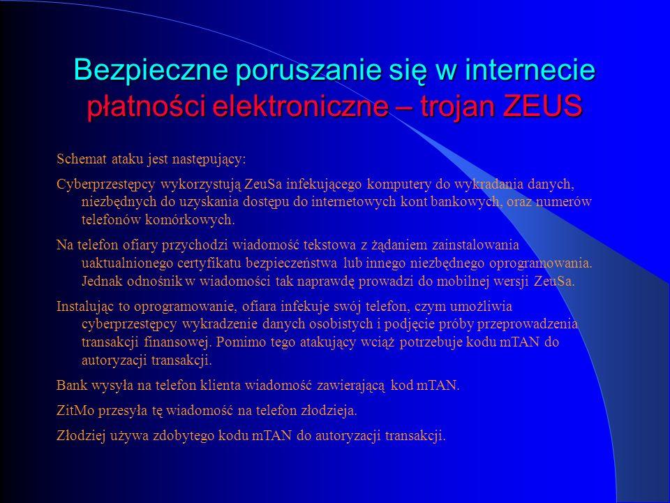 Bezpieczne poruszanie się w internecie płatności elektroniczne – trojan ZEUS