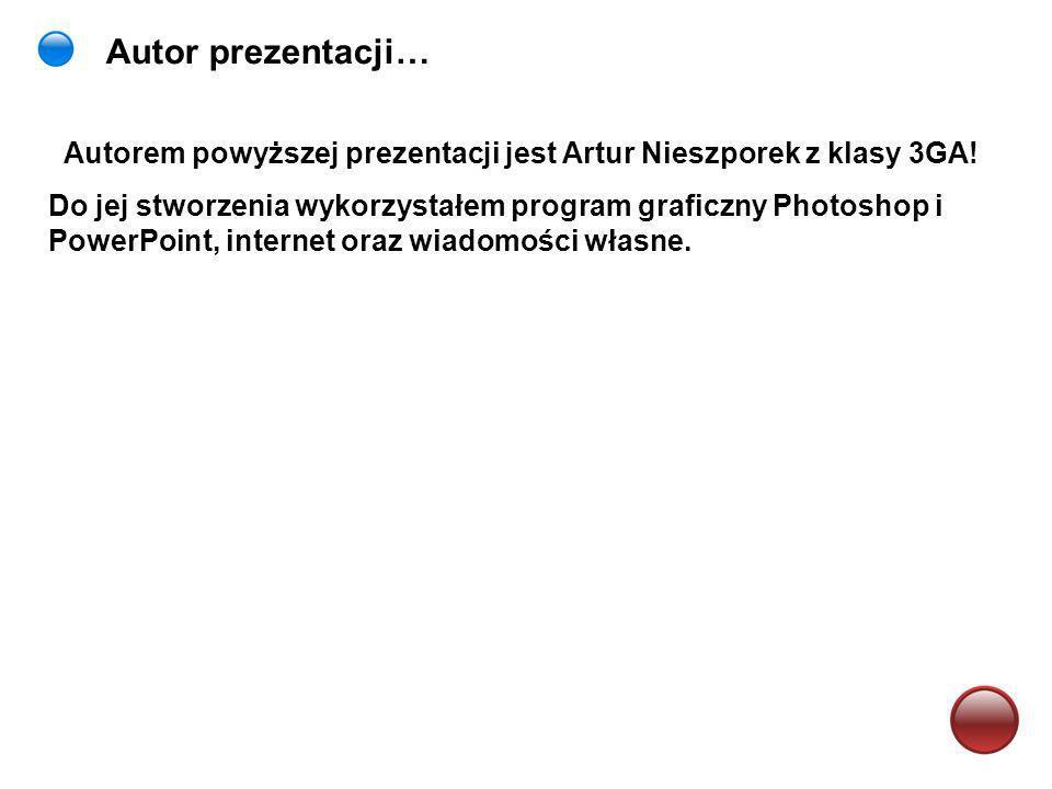 Autor prezentacji… Autorem powyższej prezentacji jest Artur Nieszporek z klasy 3GA!