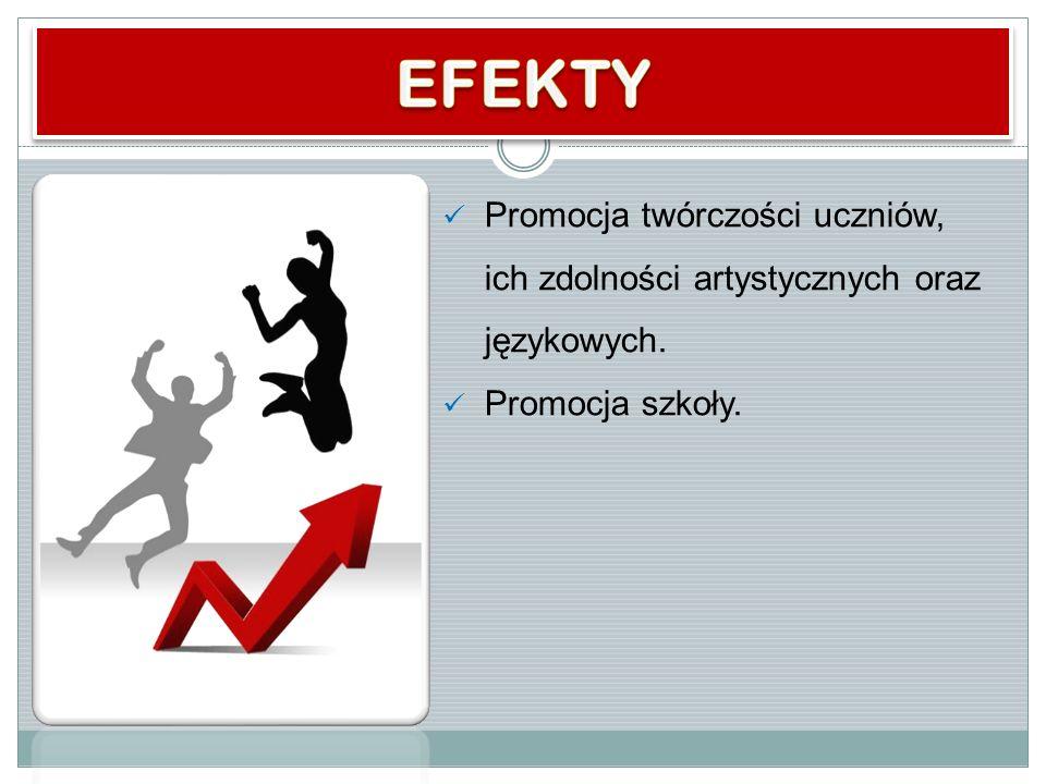 EFEKTY Promocja twórczości uczniów, ich zdolności artystycznych oraz językowych. Promocja szkoły.