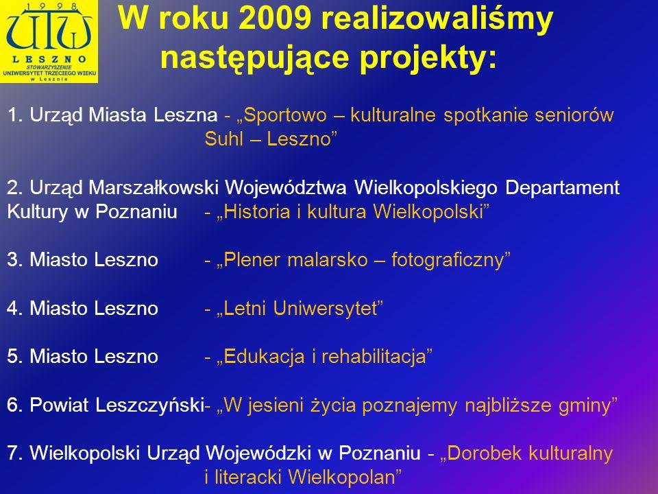 W roku 2009 realizowaliśmy następujące projekty: