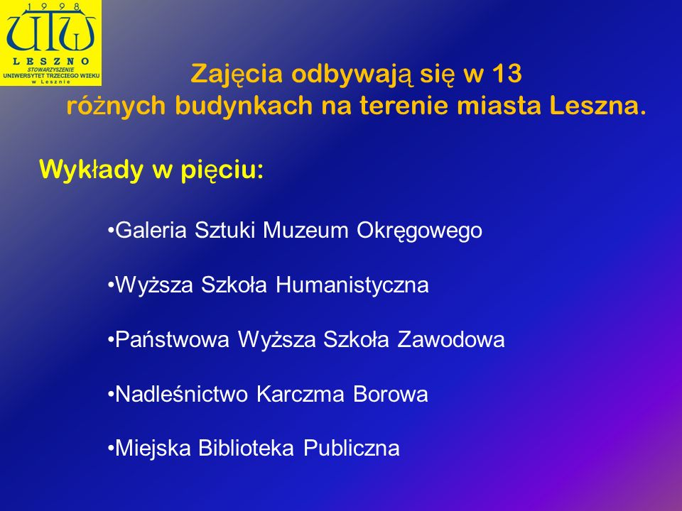 różnych budynkach na terenie miasta Leszna.