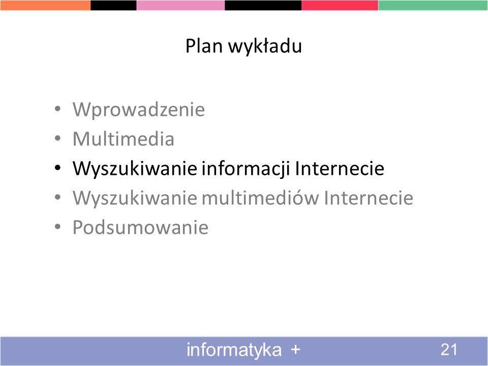Wyszukiwanie informacji Internecie Wyszukiwanie multimediów Internecie