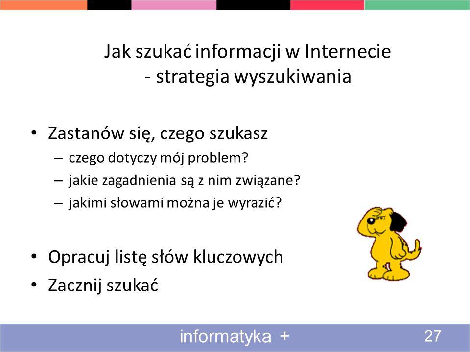 Jak szukać informacji w Internecie - strategia wyszukiwania