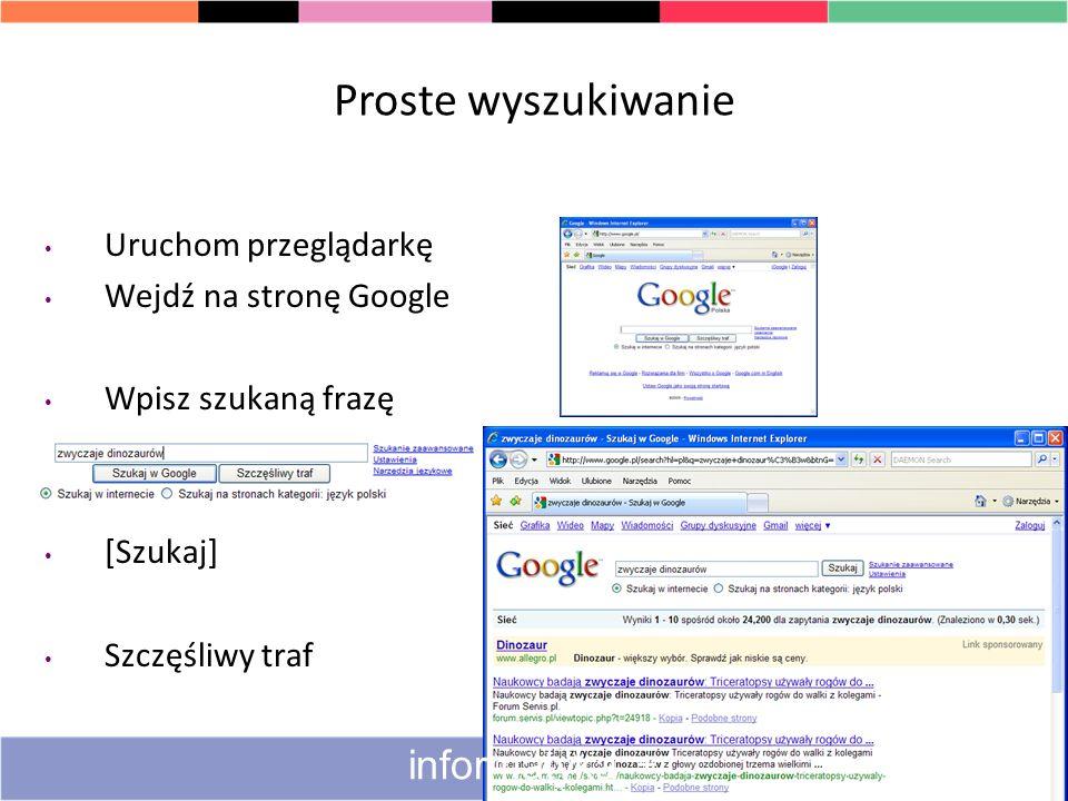 Proste wyszukiwanie informatyka + Uruchom przeglądarkę