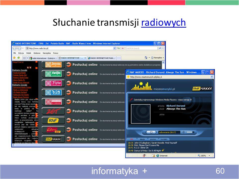 Słuchanie transmisji radiowych