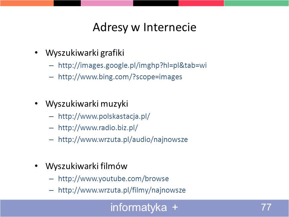 Adresy w Internecie informatyka + Wyszukiwarki grafiki