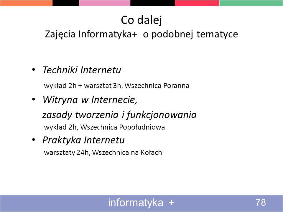Co dalej Zajęcia Informatyka+ o podobnej tematyce