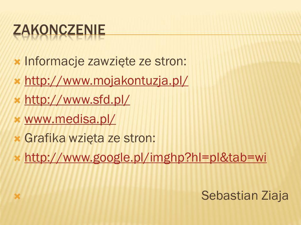 Zakonczenie Informacje zawzięte ze stron: http://www.mojakontuzja.pl/