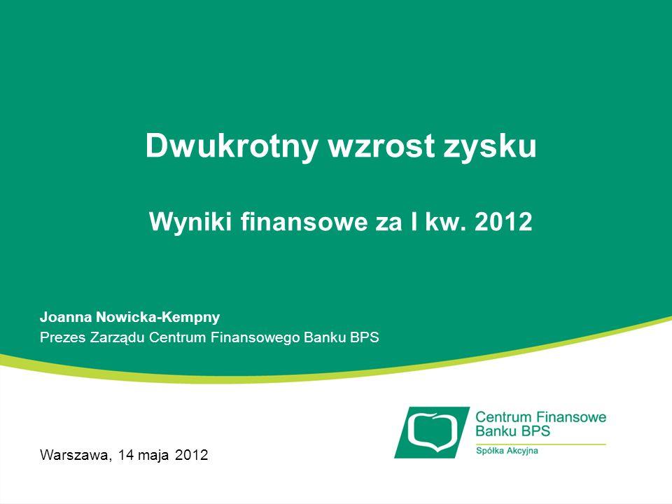 Dwukrotny wzrost zysku Wyniki finansowe za I kw. 2012