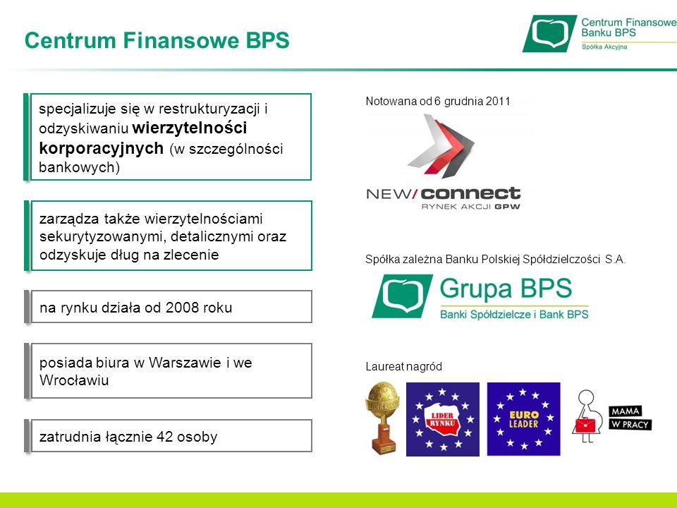 Centrum Finansowe BPS specjalizuje się w restrukturyzacji i odzyskiwaniu wierzytelności korporacyjnych (w szczególności bankowych)