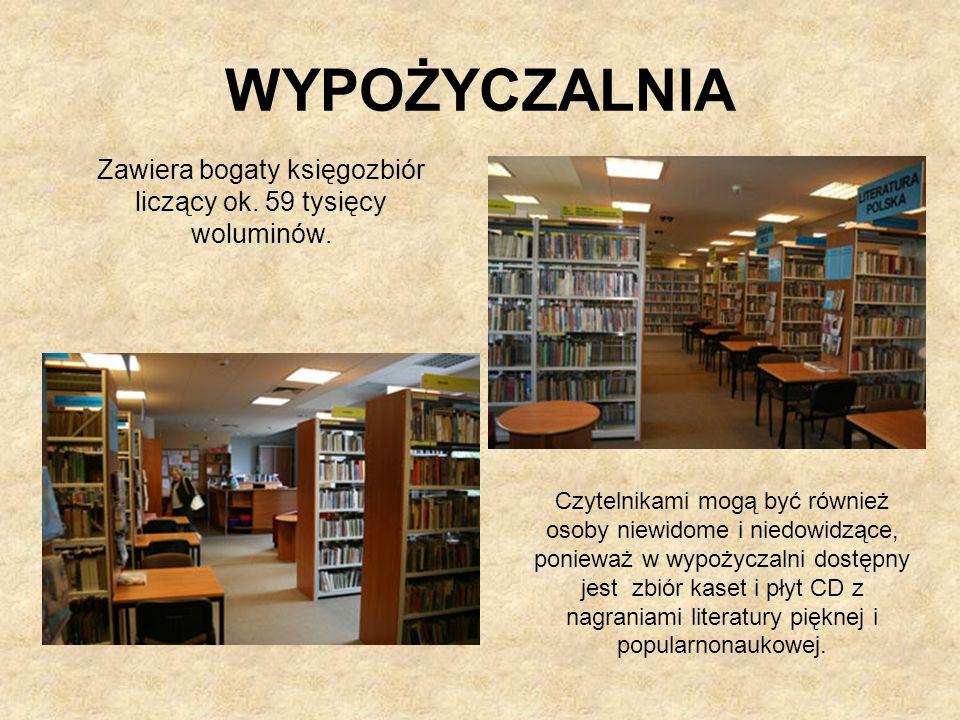 Zawiera bogaty księgozbiór liczący ok. 59 tysięcy woluminów.