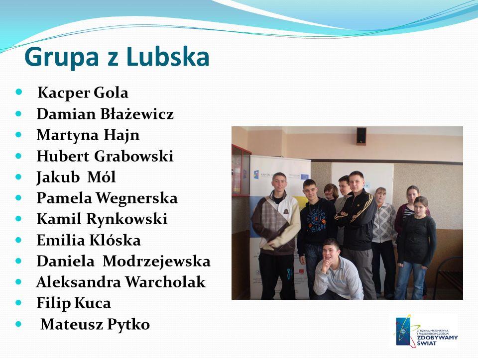 Grupa z Lubska Kacper Gola Damian Błażewicz Martyna Hajn