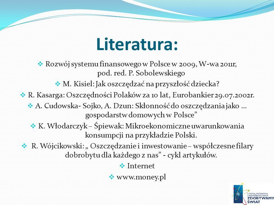 Literatura: Rozwój systemu finansowego w Polsce w 2009, W-wa 2011r, pod. red. P. Sobolewskiego.