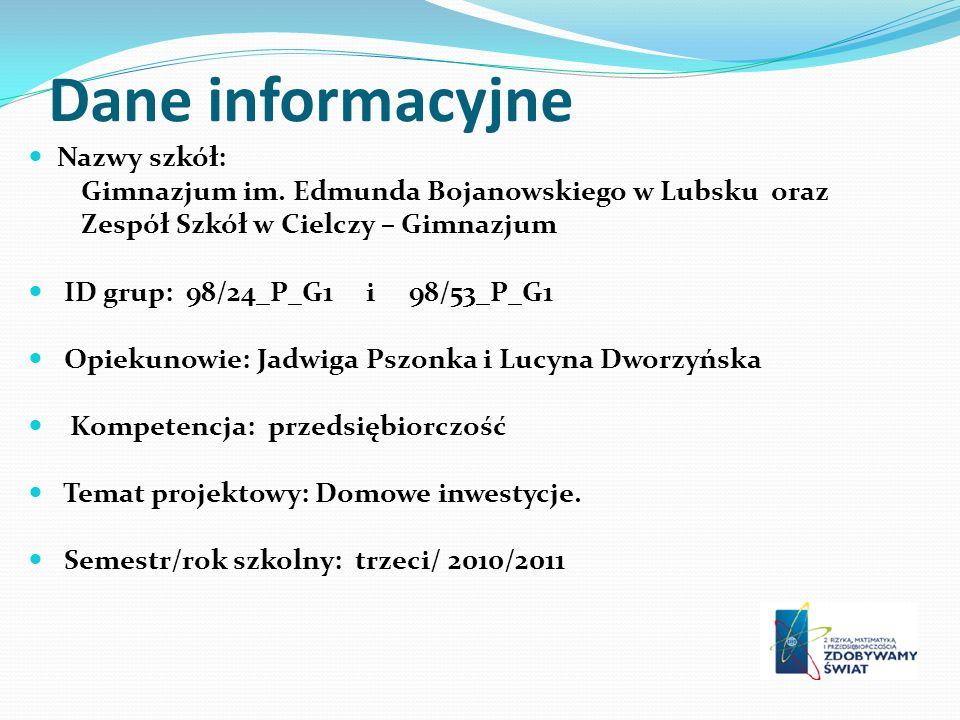 Dane informacyjne Nazwy szkół: