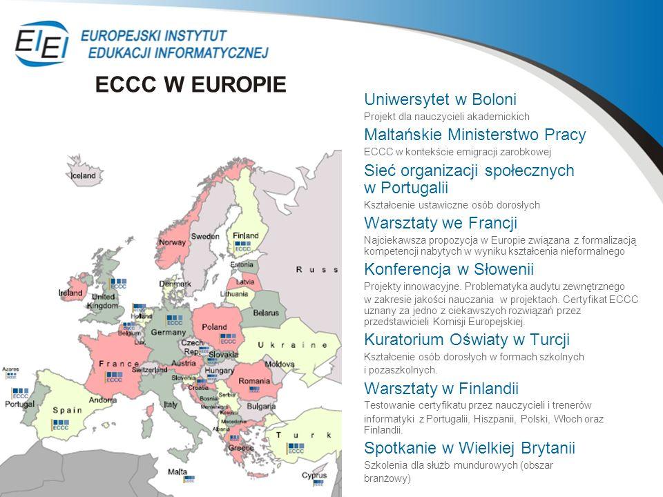 ECCC W EUROPIE Uniwersytet w Boloni Maltańskie Ministerstwo Pracy
