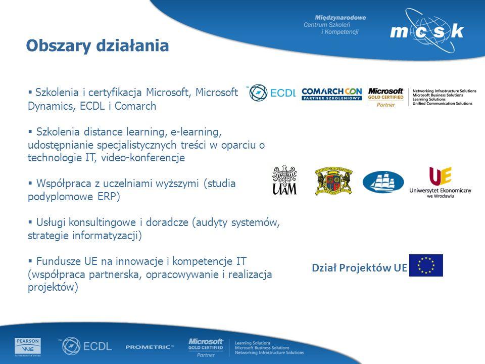 Obszary działania Dział Projektów UE