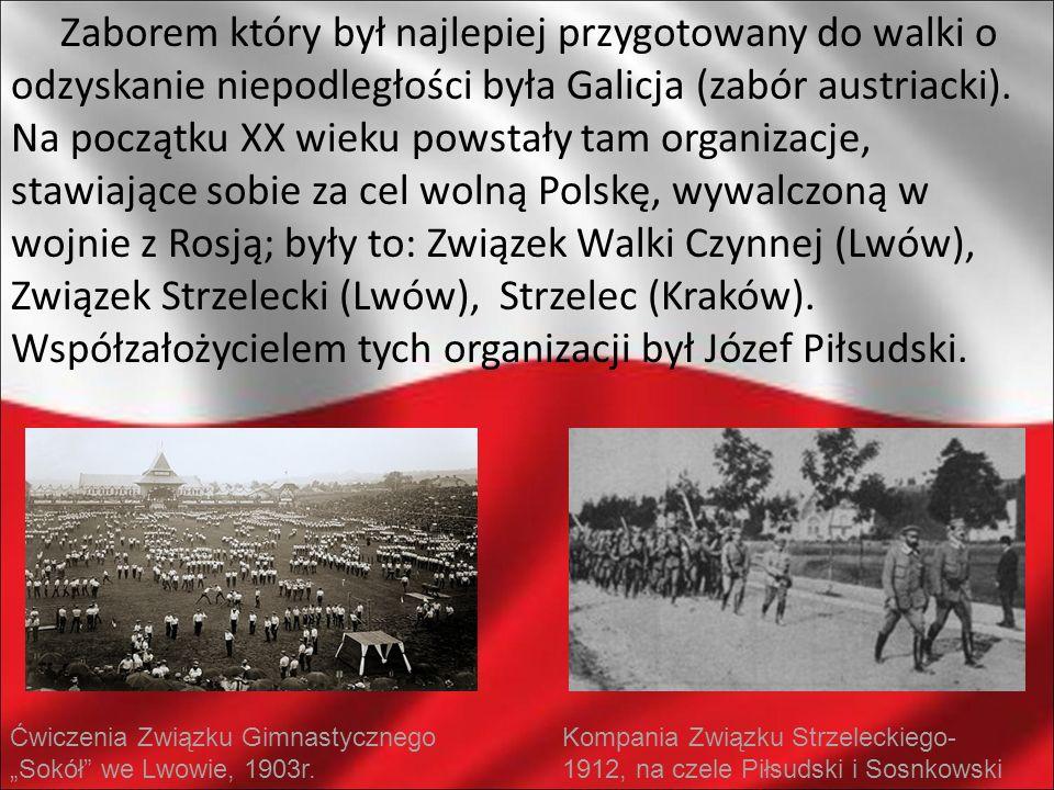 Zaborem który był najlepiej przygotowany do walki o odzyskanie niepodległości była Galicja (zabór austriacki). Na początku XX wieku powstały tam organizacje, stawiające sobie za cel wolną Polskę, wywalczoną w wojnie z Rosją; były to: Związek Walki Czynnej (Lwów), Związek Strzelecki (Lwów), Strzelec (Kraków). Współzałożycielem tych organizacji był Józef Piłsudski.